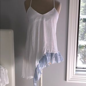 ZARA asymmetrical tunic with sear-sucker bottom